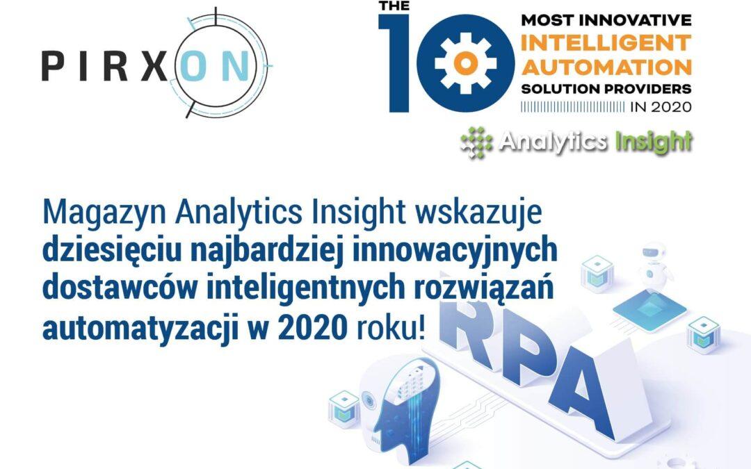 PIRXON – 1 z 10 najbardziej innowacyjnych dostawców inteligentnych rozwiązań automatyzacji w 2020